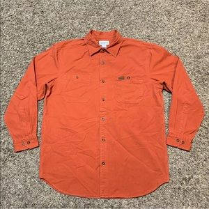 Carhartt Button Front Shirt Workwear Leather Logo